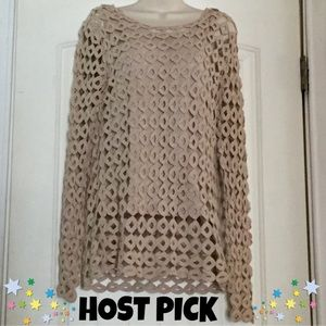 Sweaters - ✨HP✨Crochet lightweight sweater w/ tank attached